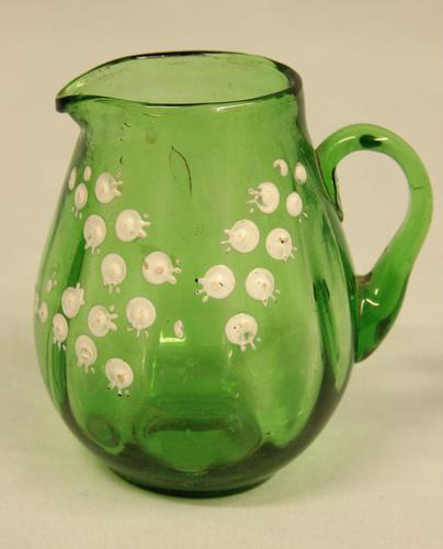 Late Victorian Green Glass Decorated Small Jug (1 of 4)