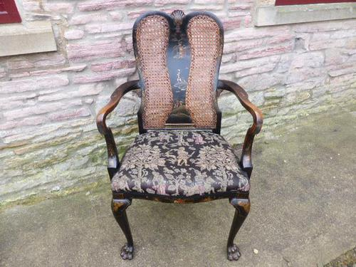 Stylish Regency Chinoiserie Lacquered Desk Chair (1 of 7)