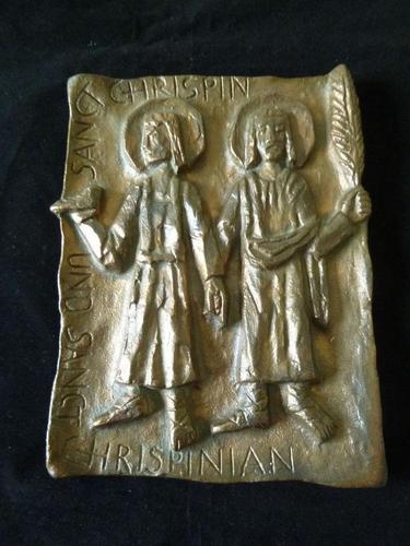 Mid Century Bronze Plaque - Saint Chrispin & Chrispinian- European School (1 of 6)