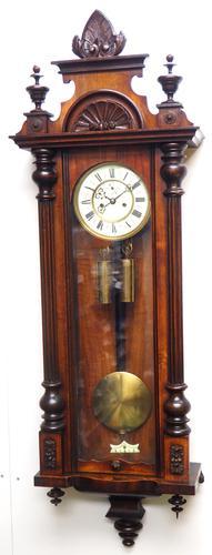 Wow! Antique German Double Weight Walnut 8-Day Vienna Regulator Wall Clock by Gustav Becker (1 of 11)