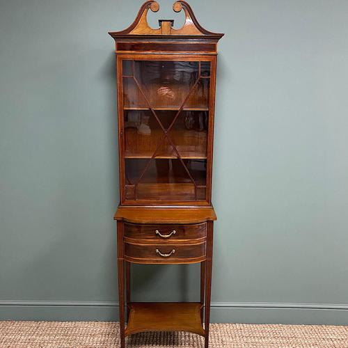 Quality Tall Slim Mahogany Victorian Antique Bookcase (1 of 8)