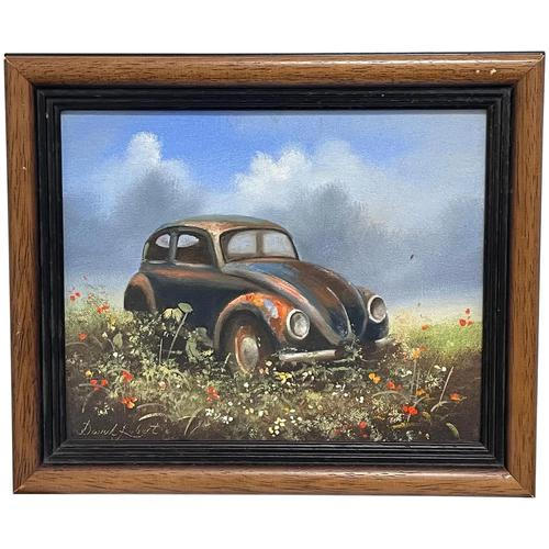 """Oil Painting """"Unloved Abandoned VW Beetle Car"""" Signed David Robert (1 of 27)"""