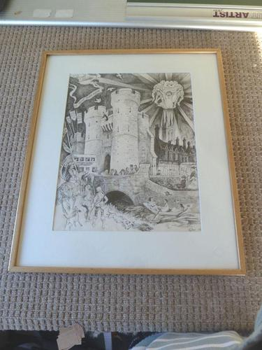 """William Papas """" Canterbury """" Ink Drawing 1970's - 1 of 6 Listed (1 of 10)"""