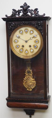 Rare Early Wall Clock Large Dial Rosewood 8 Day Striking Vienna Wall Clock (1 of 10)