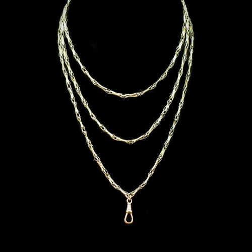 Antique Victorian 9ct 9K Gold Fancy Faceted Long Guard Muff Chain Necklace (1 of 9)