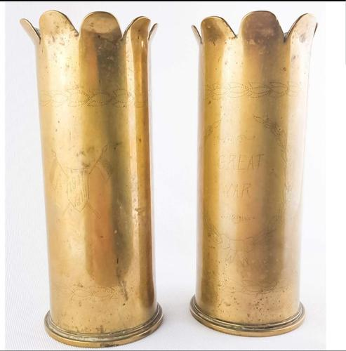 WW1 Trench Art 1918 Pair of Shells (1 of 5)