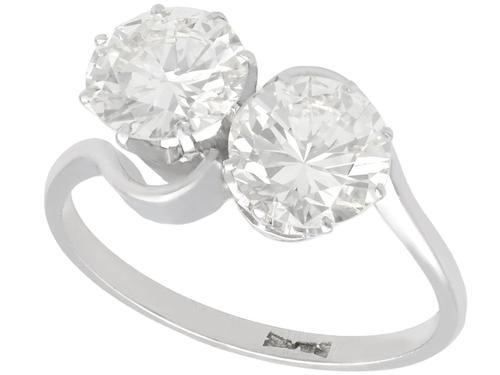 2.85ct Diamond & Platinum Twist Ring - Vintage c.1940 (1 of 9)