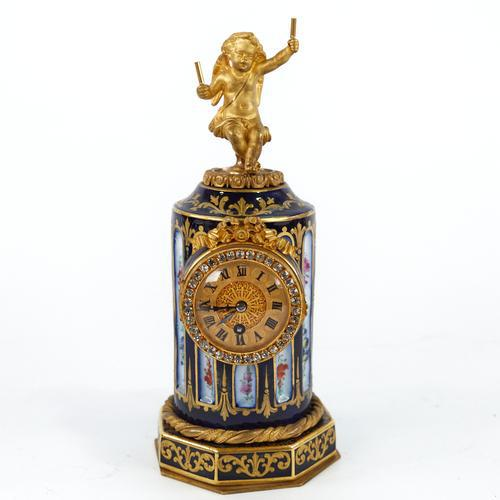 French Blue & Gilt Porcelain Cased Mantel Clock in the Form of a Column (1 of 3)