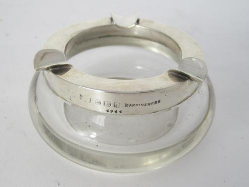 Very Smart Mappin & Webb Silver & Clear Glass Circular Ash Tray (1 of 4)