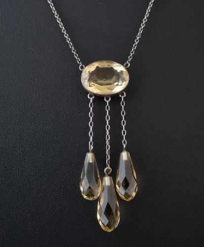 Antique Citrine Drop Necklace, Art Nouveau (1 of 11)