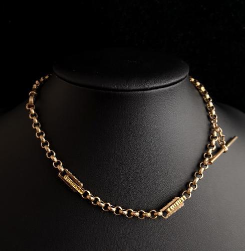 Antique Victorian 9ct Gold Albert Chain, Fancy Link (1 of 12)