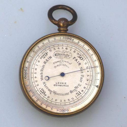 Antique Pocket Barometer with Hurricane Forecast by Lennie Edinburgh 19th Century (1 of 4)