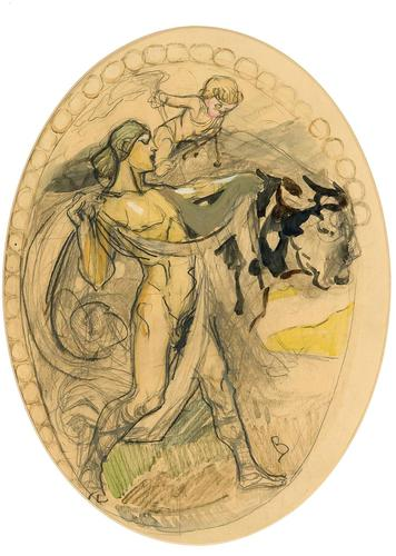 Exclusive Russian Symbolism Painting from Private Collection. #3 Female with a Bull (1 of 4)