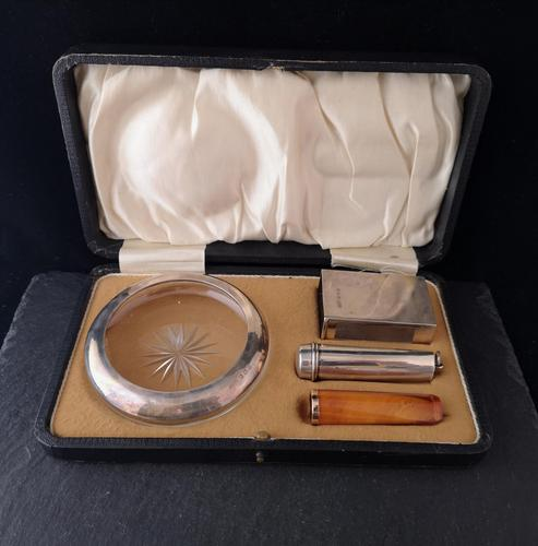 Antique cigar smokers set, silver, Amber and gold (1 of 11)