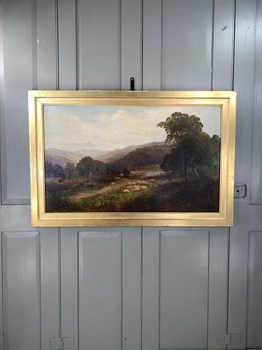Antique Signed Victorian Landscape Oil Painting of Flock of Sheep (1 of 10)