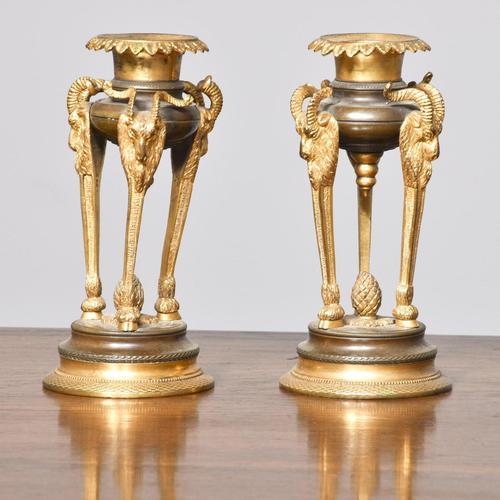 Antique George IV Bronze and Ormolu Candlesticks (1 of 4)