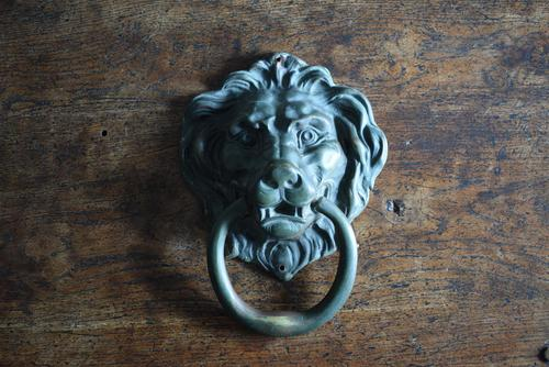 Large Antique Mid 19th Century Bronze Lion Mask Door Knocker (1 of 10)
