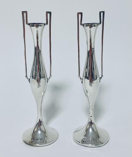 Pair of Antique Art Nouveau Solid Silver Vases (1 of 13)