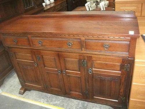 Large Carved Oak Old Charm Sideboard (1 of 3)