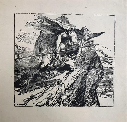 Original woodblock print of a warrior looking down from a rock. By Henry Anelay 1817-1883. The work is signed. (1 of 1)