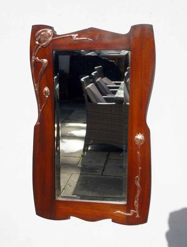 Elegant Art Nouveau Mahogany & Copper Pier Mirror (1 of 11)