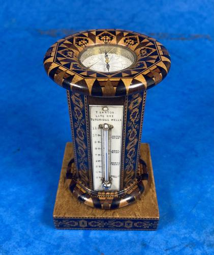 Victorian Burr Maple Thermometer & Compass by Thomas Barton (1 of 14)