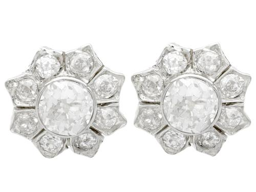 1.81ct Diamond & 18ct Yellow Gold Cluster Earrings - Antique c.1920 (1 of 9)