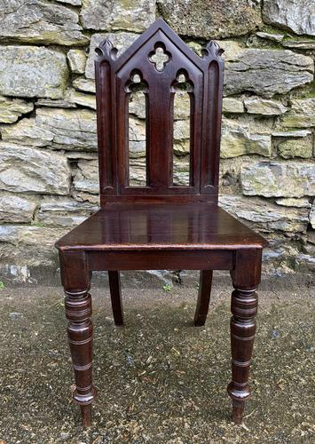 Antique Gothic Oak Hall Chair (1 of 13)