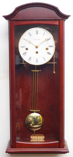 Perfect Vintage Musical Dual Chime Westminster Chiming Wall Clock 8-day Mahogany Case (1 of 12)