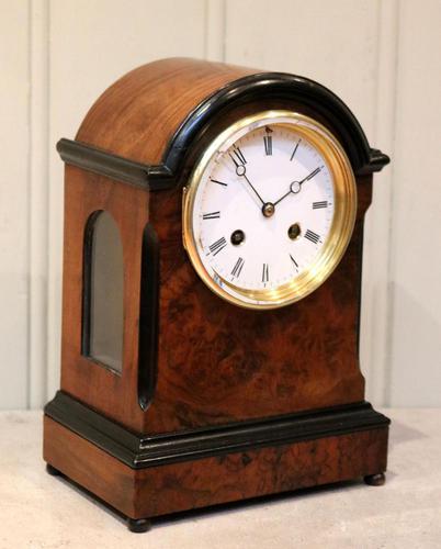 Small Victorian Burr Walnut Mantel Clock (1 of 10)