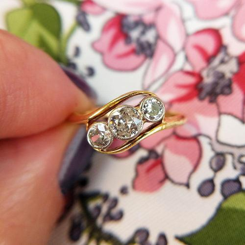 Antique Art Deco 18ct Gold & Diamond Three Stone Bypass Ring (1 of 7)