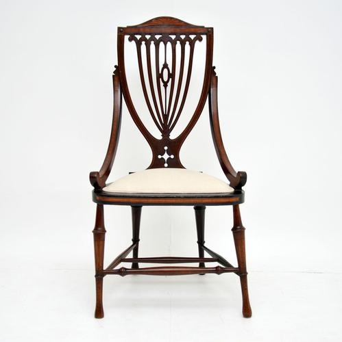 Antique Edwardian Inlaid Mahogany Side Chair (1 of 9)