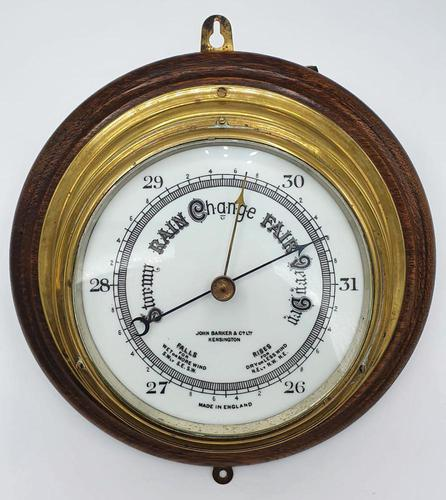 19th Century Brass & Oak Mounted Ships Barometer (1 of 2)