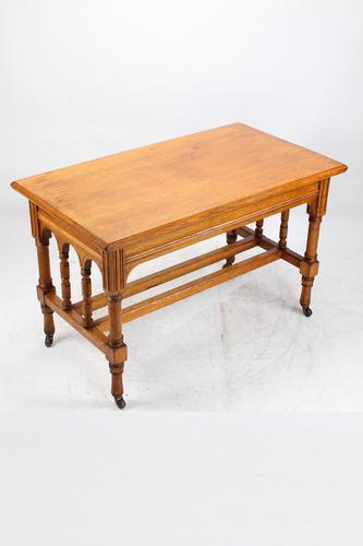 Victorian Gothic Revival Oak Dining Table / Stretcher Table (1 of 13)
