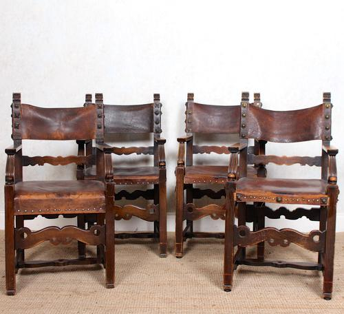 4 Dining Chairs Ships Nautical Chairs Oak Leather 19th Century (1 of 10)