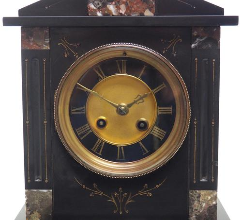 Antique French Slate & Marble Mantel Clock 8 Day Striking Mantle Clock (1 of 10)