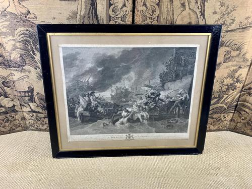 Early Engraving of The Battle at La Hogue (1 of 8)