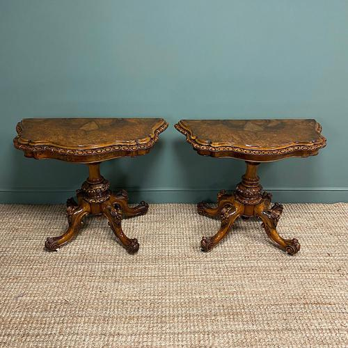 Stunning Pair of Victorian Walnut Antique Card Tables (1 of 9)