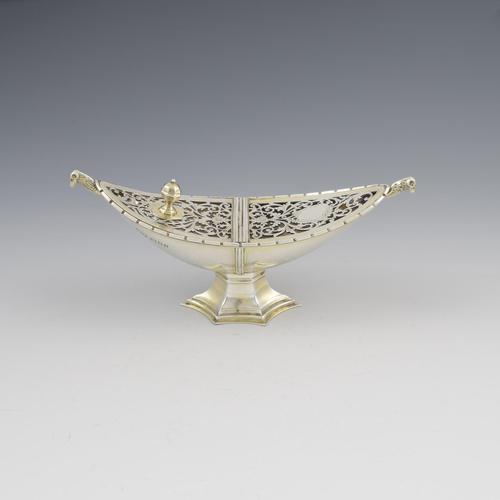 Unusual Art Deco Silver Pot Pourri After Ramsey Abbey Incense Boat (1 of 17)