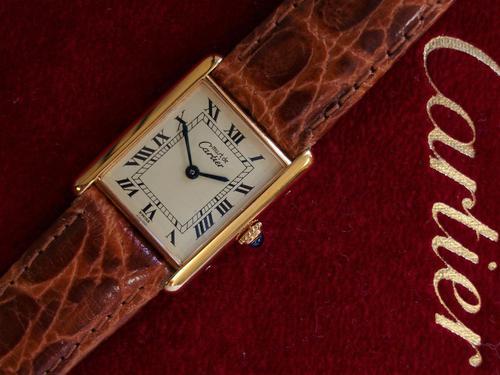 Cartier Gents Tank Wristwatch Quartz Model Tan Strap (1 of 4)