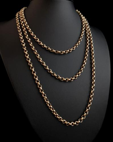 Antique gold longuard chain, necklace (1 of 14)