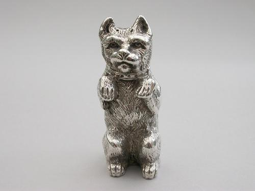 Victorian Novelty Silver Begging Dog Pepper by Thomas Johnson, London, 1878 (1 of 15)
