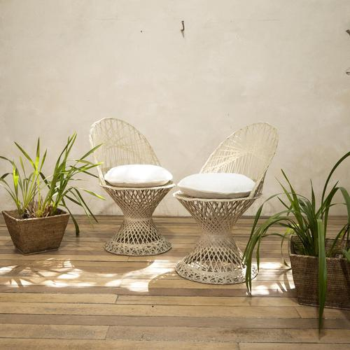 Pair of Mid 20th Century Russell Woodard Wicker Effect Side Chairs - Patio (1 of 11)