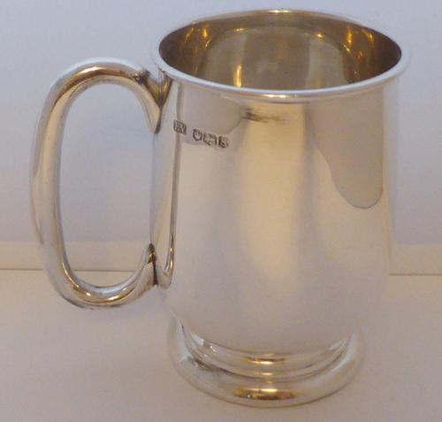 Viners 1960 Half 1/2 Pint Hallmarked Solid Silver Tankard Christening Mug 194g (1 of 10)
