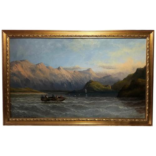 Antique Victorian Oil Painting Scottish Highlands Loch Lomond F W Bartholomew (1 of 28)