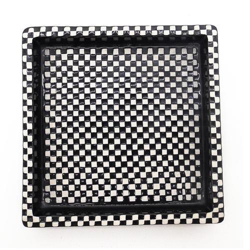 "Stig Lindberg - Gustavsberg Scandinavian Art Pottery 8""sq Domino Dish c.1955 (1 of 5)"