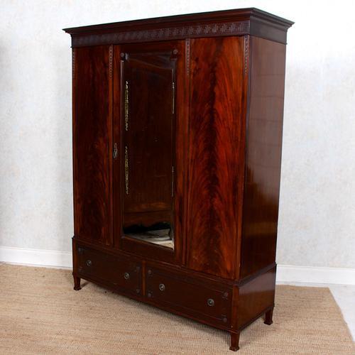 Triple Compactum Wardrobe Flame Mahogany 19th Century (1 of 12)