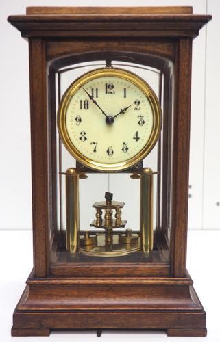 Rare Gustav Becker 400-day Torsion Clock German Mantel Clock Mahogany & Bevelled Glass Case (1 of 13)