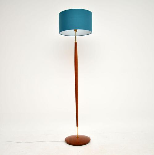 1960's Danish Vintage Teak & Brass Floor Lamp (1 of 6)