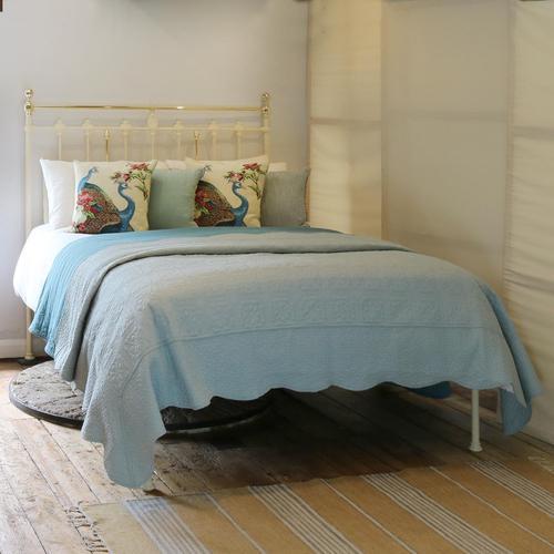 Brass & Iron Antique Platform Bed in Cream (1 of 6)